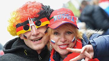 Немецкие болельщики перед началом матча группового этапа чемпионата мира по хоккею 2017 между сборными командами Германии и России