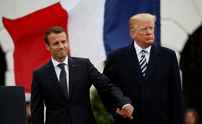 Президент США Дональд Трамп и президент Франции Эммануэль Макрон в Белом доме