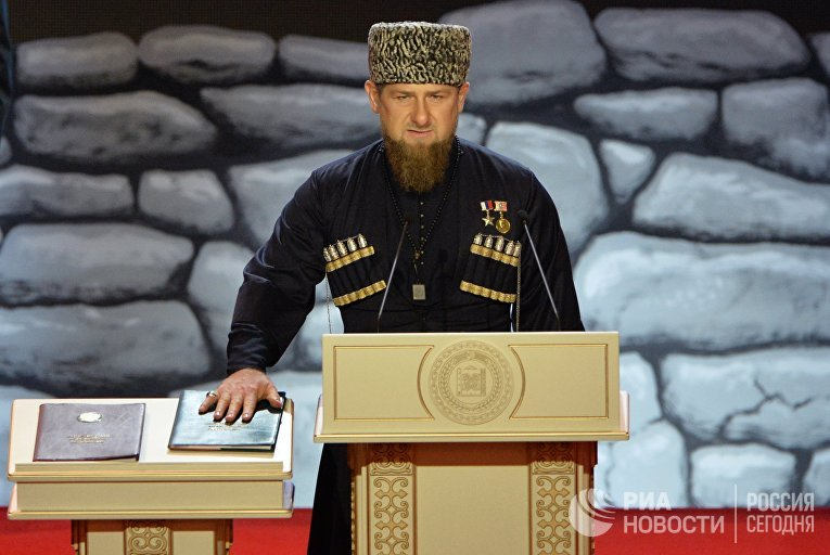 Избранный глава Чеченской Республики Рамзан Кадыров во время церемонии инаугурации в Грозном