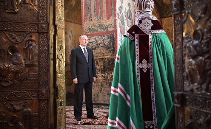 Президент РФ Владимир Путин и патриарх Московский и всея Руси Кирилл