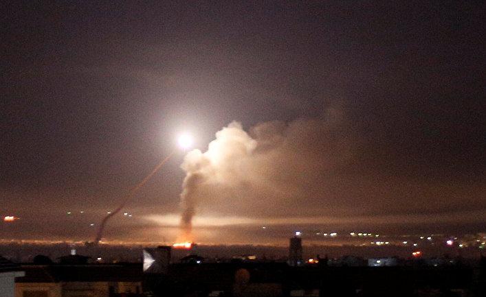 Дамаск по время ракетного обстрела со стороны израильской армии