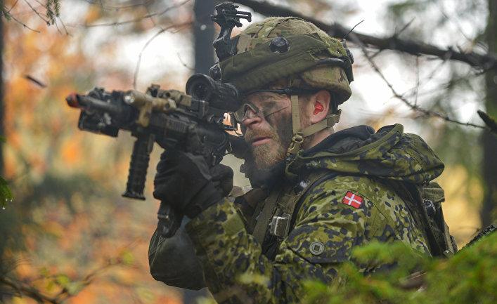 Солдат датской армии на учениях