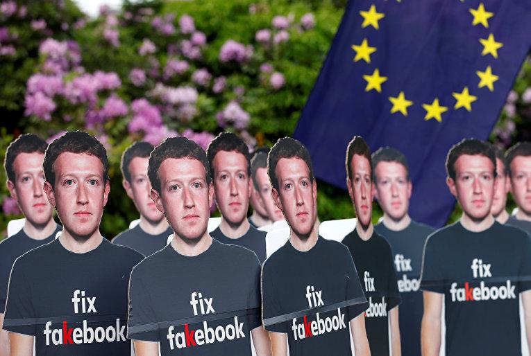 Акция протеста во время встречи генерального директора Facebook Марка Цукерберга и лидеров Европейского парламента в Брюсселе