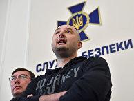 Журналист Аркадий Бабченко на брифинге в СБУ в Киеве, Украина