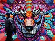 """Граффити мексиканского художника Фарида Руэда в рамках арт-проекта """"Футбольные континенты"""" к ЧМ-2018 по футболу в Москве"""