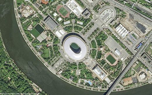Московский стадион «Лужники» на снимке, сделанном со спутников Pleiades 6 июня 2018 года