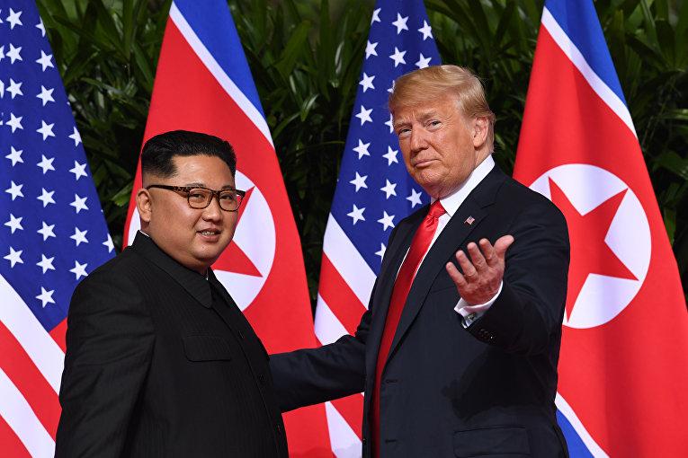 Трамп и Ким Чен Ын на саммите. 12.06.2018