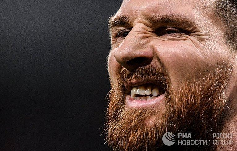 Лионель Месси в товарищеском матче между сборными командами России и Аргентины
