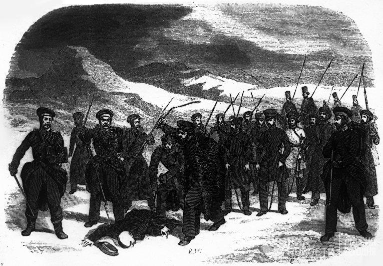 Осужденные на каторжные работы направляются под конвоем в Сибирь