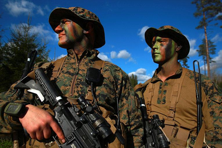 Военнослужащие армии США во время совместных учений войск НАТО в Эстонии