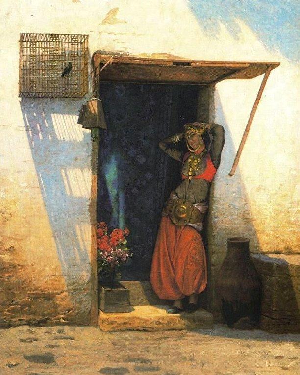 Картина французского художника Жан-Леона Жерома «Женщина в Каире у своей двери»