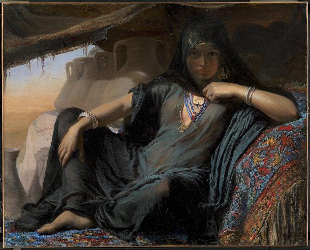 Картина датской художницы Элизабет Йерихау-Бауман «Египетская продавщица горшков в Гизе»