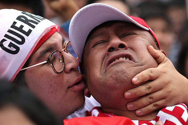Болельщики Перу во время матча между сборными Перу и Дании