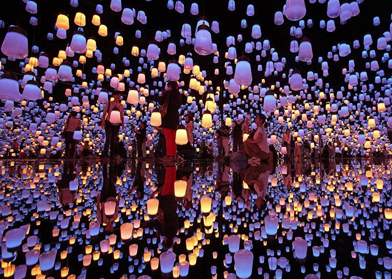 Световая инсталяция в музее цифрового искусства Mori Building в Токио