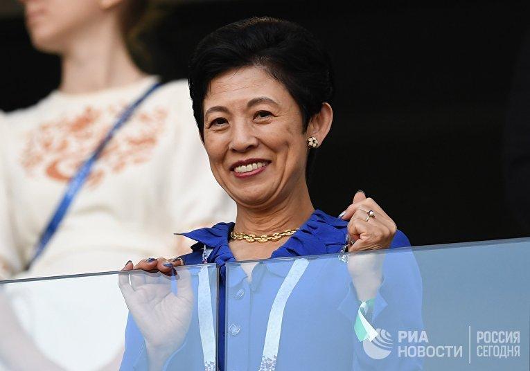 Принцесса Японии Хисако Такамадо перед началом матча чемпионата мира по футболу между сборными Японии и Сенегала