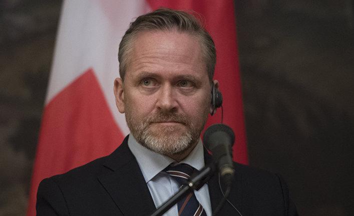 Министр иностранных дел Дании Андерс Самуэльсен во время заявления для прессы по итогам встречи в Москве с Сергеем Лавровым. 6 февраля 2018