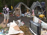 Заброшенный после нападения лагерь цыган на окраине Львова, Украина
