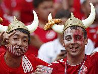 Датские болельщики на чемпионате мира по футболу 2018 года на стадионе Лужники в Москве