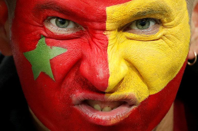 Болельщик во время матча ЧМ-2018 между сборными Марокко и Испании в Калининграде