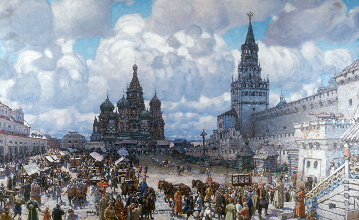 """Картина А.Васнецова  """"Красная площадь во второй половине XVII века""""."""