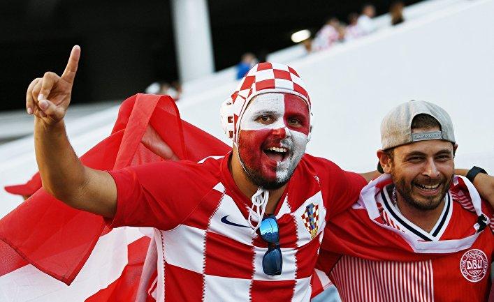 Болельщики перед матчем ЧМ-2018 по футболу между сборными Хорватии и Дании