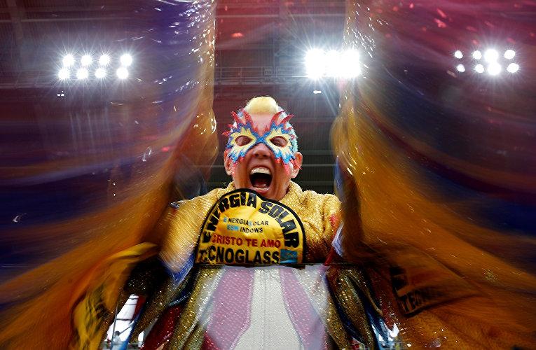 Болельщик из Колумбии перед матчем между сборными Колумбии и Англии