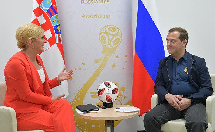 Дмитрий Медведев и президент Республики Хорватия Колинда Грабар-Китарович во время встречи. 7 июля 2018