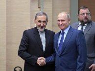 Владимир Путин и старший советник верховного руководителя Исламской Республики Иран по международным вопросам Али Акбар Велаяти во время встречи. 12 июля 2018