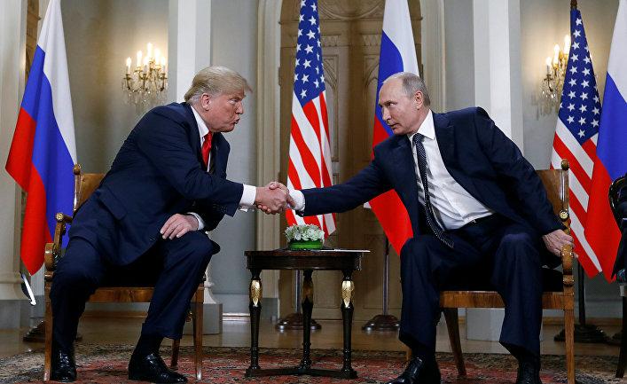 Дональд Трамп и Владимир Путин на встрече в Хельсинки