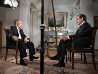 Президент РФ Владимир Путин и ведущий телеканала Fox News Крис Уоллес во время интервью в Хельсинки. 16 июля 2018