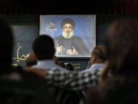 Лидер «Хезболлы» Шейх Хасан Насралла выступает по видеосвязи в пригороде Бейрута, Ливан
