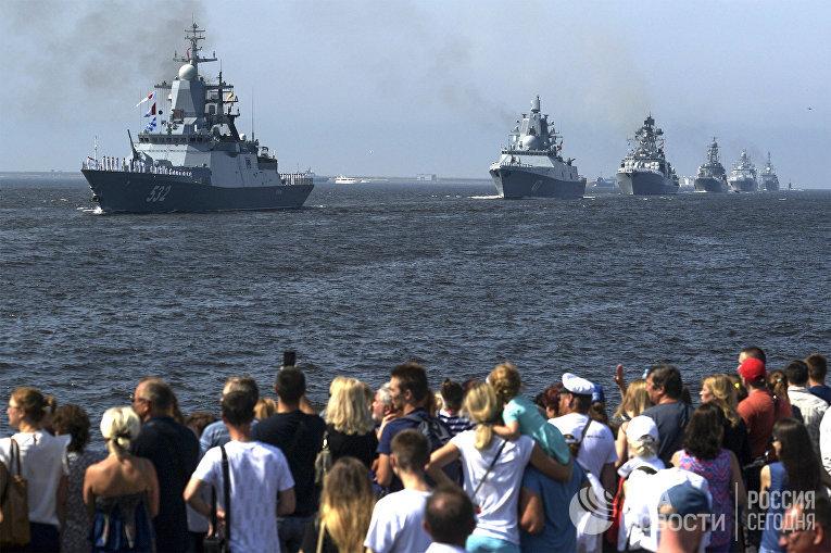 Первая сводная репетиция парада ВМФ России