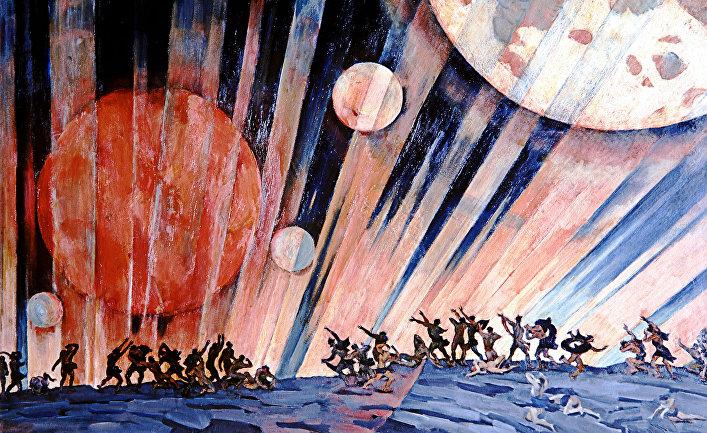 Репродукция картины К. Юона «Новая планета»