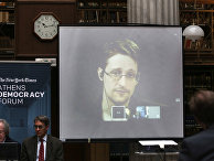 Эдвард Сноуден во время видеоконференции на Демократическом форуме в Афинах