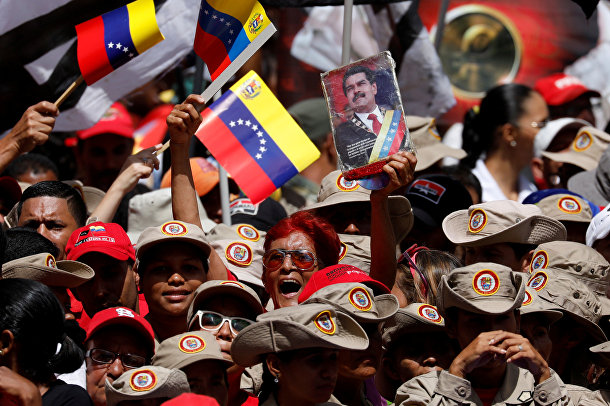 Акция сторонников президента Венесуэлы Николаса Мадуро в Каракасе