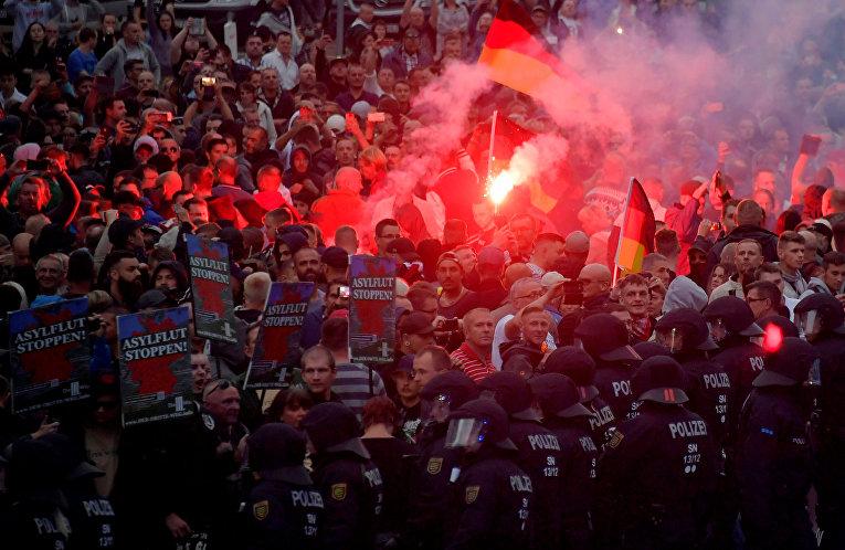 Участники беспорядков в Хемнице, Германия
