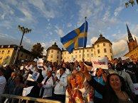 Сторонники партии демократов Швеции в Стокгольме