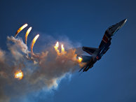"""Многоцелевой истребитель Су-30СМ пилотажной группы """"Русские витязи"""" на закрытии IV Международного военно-технического форума """"Армия-2018"""""""