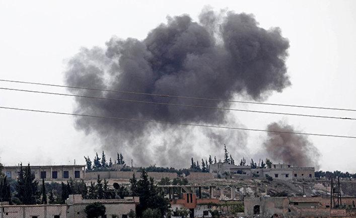 Бомбардировка города Аль-Габит на окраине провинции Иблиб