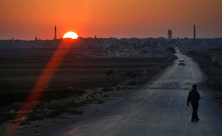 Закат в сирийском городе Идлиб
