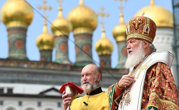 Патриарх Московский и всея Руси Кирилл во время празднования 1030-летия Крещения Руси. 28 июля 2018
