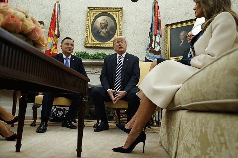 Президент Польши Анджей Дуда во время совместной пресс-конференции с президентом США Дональдом Трампом в Вашингтоне