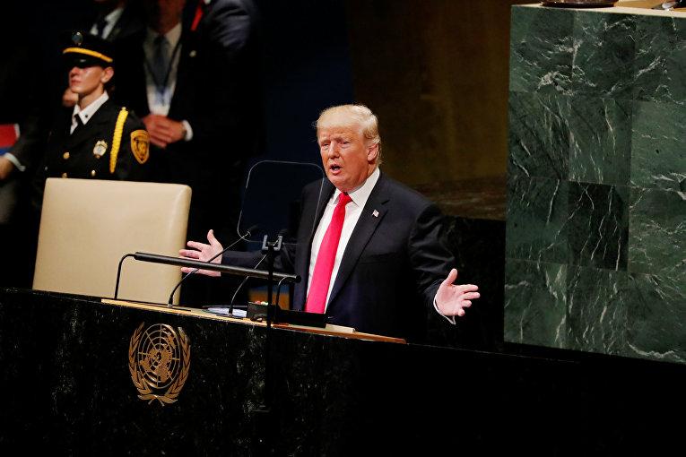 Президент США Дональд Трамп на открытии Генеральной ассамблеи в Нью-Йорке