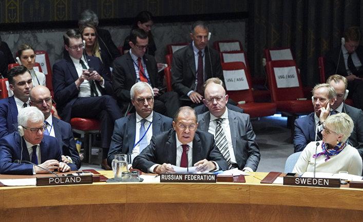 Министр иностранных дел России Сергей Лавров на заседании Совета Безопасности Организации Объединенных Наций, состоявшемся в ходе 73-й сессии Генеральной Ассамблеи ООН в штаб-квартире в Нью-Йорке, США. 26 сентября 2018
