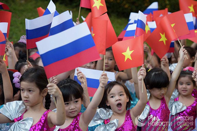 Флаги России и Вьетнама