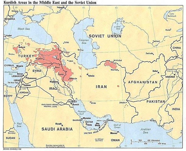 Курды на карте Ближнего Востока