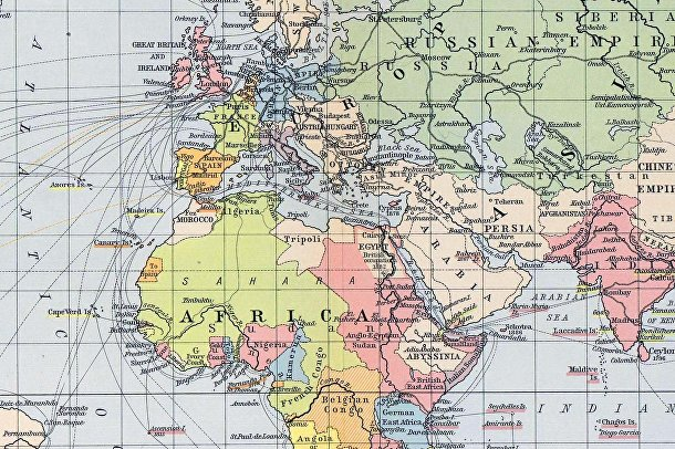 Историческая карта мира: колонии и торговые маршруты