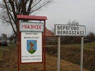 Знаки на границе города Берегово, Украина