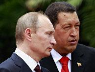 Президент Венесуэлы Уго Чавес встречает премьер-министра России Владимира Путина