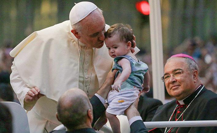Папа Римский Франциск во время своего визита в Рио-де-Жанейро